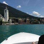 The church of St. Wolfgang from an electric boat on the Wolfgangsee ?