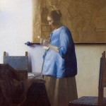 Woman in Blue Reading a Letter ?