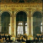 The signature of the Treaty of Versailles in the Hall of Mirrors of the Château de Versailles ?